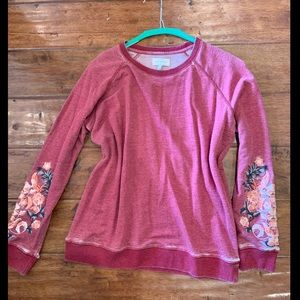 Lucky Brand Heathered Red embroidered sweatshirt